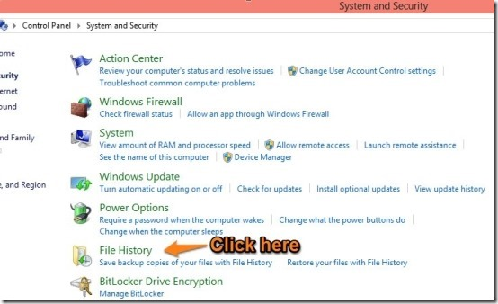 how to open file history in windows 8