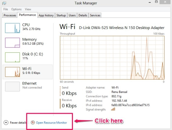how to open resource manager in windows 8