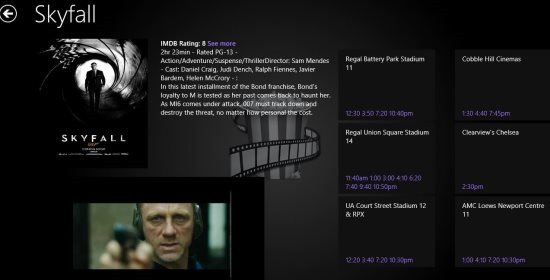 movie showtime windows 8 movie theatre app