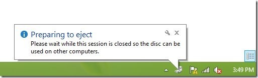 preparing disc to eject it windows 8