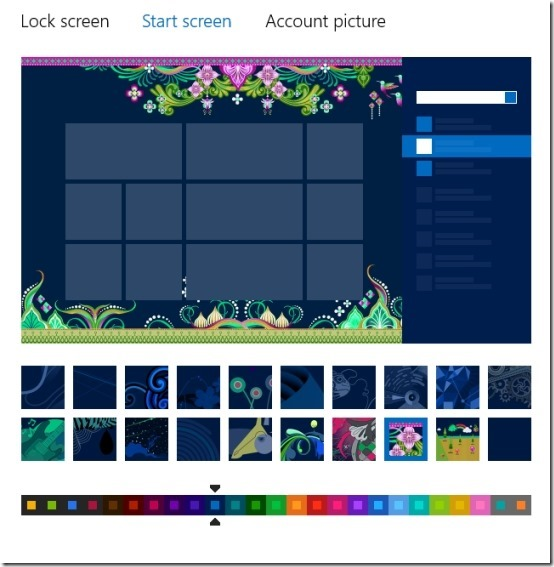 preview change the start screen background in windows 8