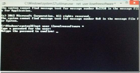 reset password in windows 8 success