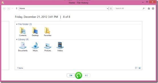 restore backup created by file history in Windows 8