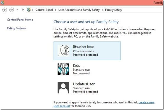 select kids account in Windows 8