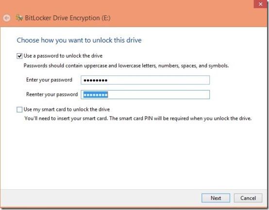 setup password in bitlocker windows 8