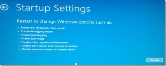 startup settings windows 8