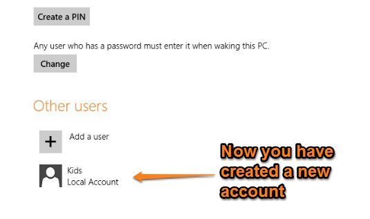 successfully added a new user in windows 8