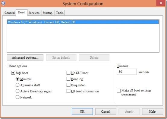 system configuration safe mode windows 8