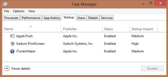 task manger windows 8 startup manager
