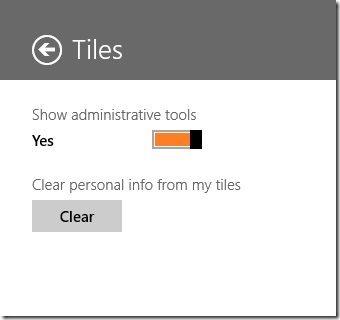 toggle Administrative Tools windows 8
