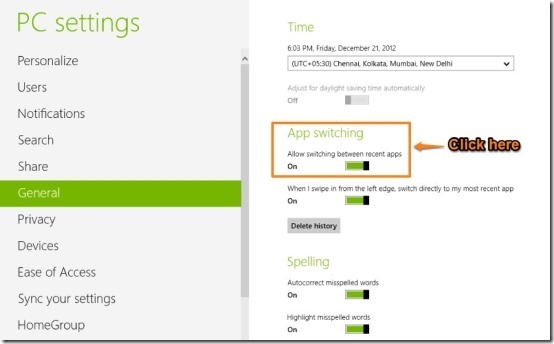 turn off application switching in Windows 8 how to