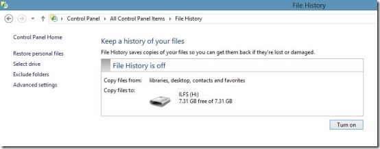 turn on file histroy in windows 8
