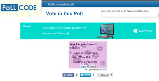 view poll page