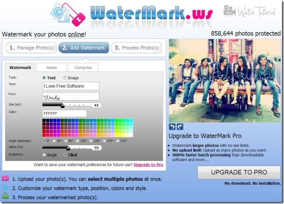 watermark.ws interface