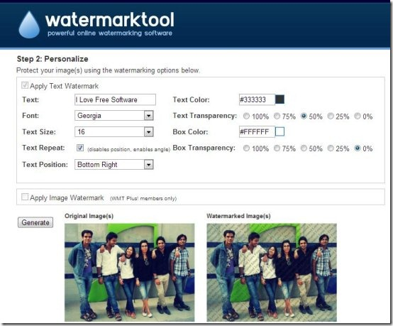 watermarktool interface