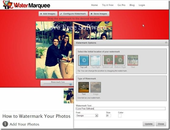 watermarquee interface