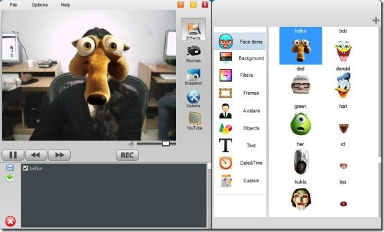 webcameffects interface