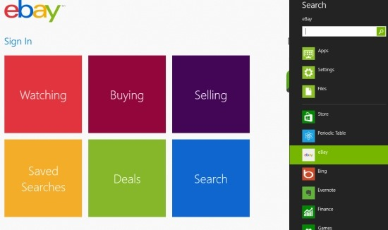 windows 8 ebay app