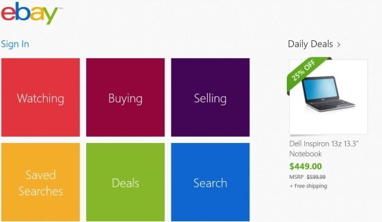 windows 8 shopping app
