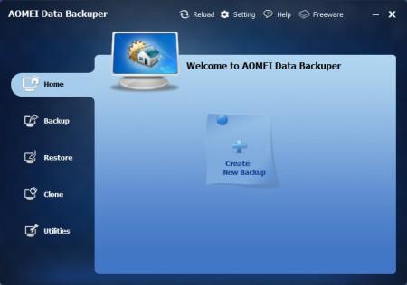 AOMEI Data Backuper free backup software default window