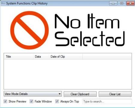 Clip History default window