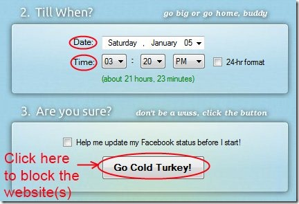 Cold Turkey 04 temporarily block Facebook, Twitter or any other website