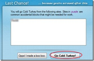 Cold Turkey 05 temporarily block Facebook, Twitter or any other website