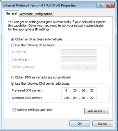 Comodo Secure DNS free DNS servers default window