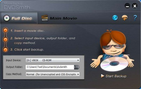 DVDSmith Movie Backup free DVD backup software default window
