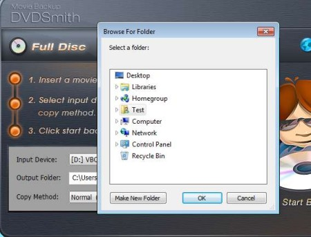 DVDSmith Movie Backup selecting folders