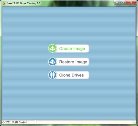 EASIS Drive Cloning default window