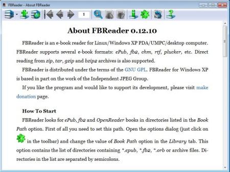 FBReader free eBook reader default window
