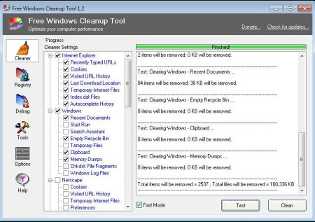 Free Windows Cleanup cleaner working
