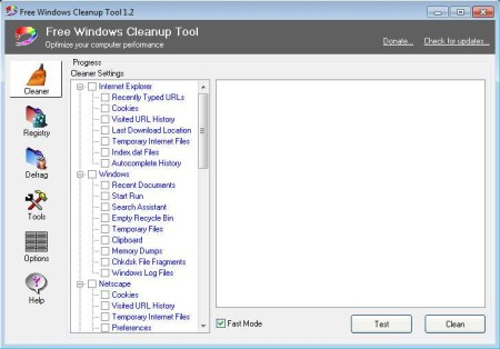 Free Windows Tool default window