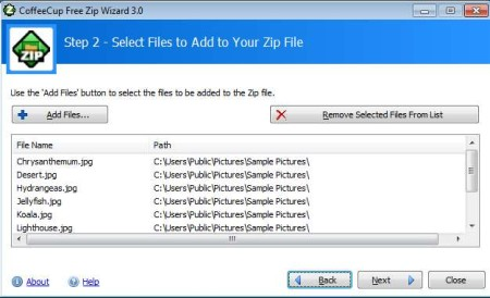 Free ZIP Wizard adding files