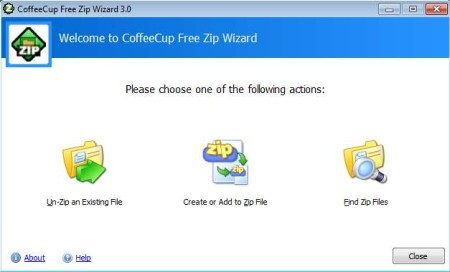 Free ZIP Wizard to zip and unzip files default window