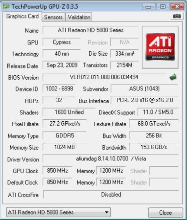 GPU-Z selected graphics card