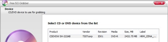 How To Make ISO From DVD In Windows 8 select a drive