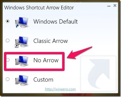 How to remove shortcut arrows in Windows 8
