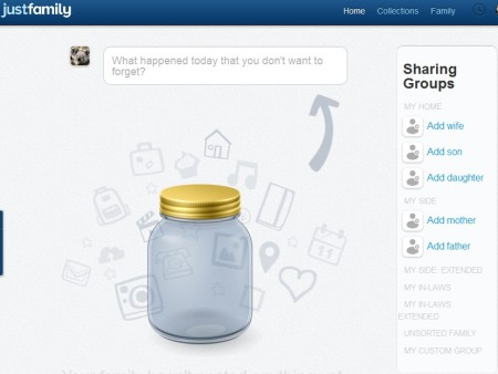 JustFamily private social network default window