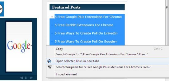 Open Selected Links via Context Menu interface