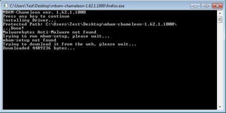 Malwarebytes Chameleon running