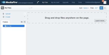 MediaFire default window