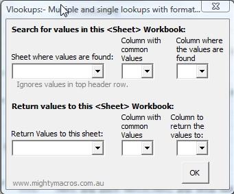 Multi-Lookup add-in default window