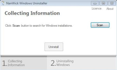 NanWick Windows Uninstaller default window