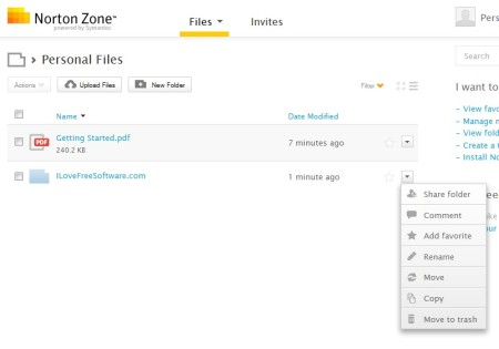 Norton Zone uploading files