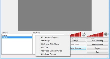 Open Broadcaster Software adding scenes sources
