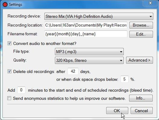PlayIt Recorder settings