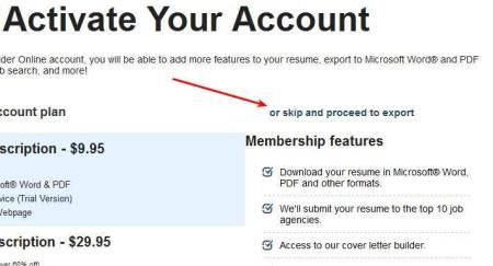Resume Builder Online exporting