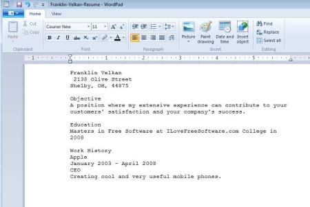 Resume Builder Online opened resume